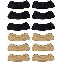 Rmeet Almohadilla de Talón, 6 Pares Autoadhesivas Cojines para Talón Invisible Talón de Plantillas de Zapatos Protector para Mujeres Zapatos de Tacón Alto Dama 10.5 * 3.5 cm Negro y Caqui