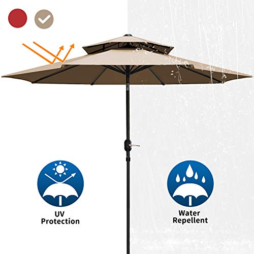 Patiassy Upgraded 9 Feet Double Top Outdoor Patio Umbrella with Push Button Tilt and Crank Lift Ventilation,8 Sturdy Ribs + 240 GSM No-Fading Fabric, 5 Years Warranty