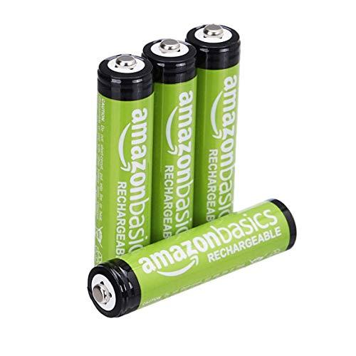 AmazonBasics AAA-Batterien, wiederaufladbar, vorgeladen, 4 Stück (Aussehen kann variieren)