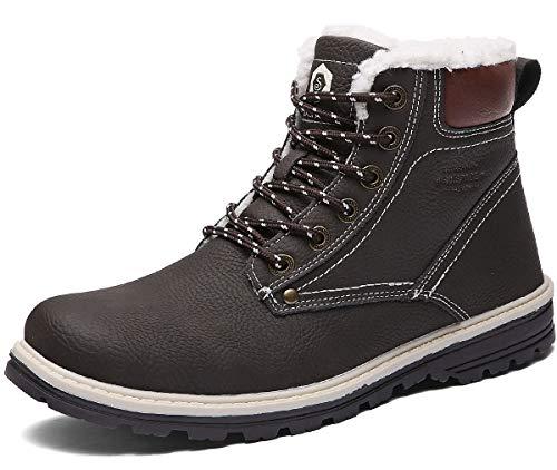 Sixspace Winterstiefel Warm Gefütterte Winterschuhe Outdoor Schneestiefel rutschfest Winter Boots Wanderschuhe für Herren Damen Dunkelbraun 46 EU