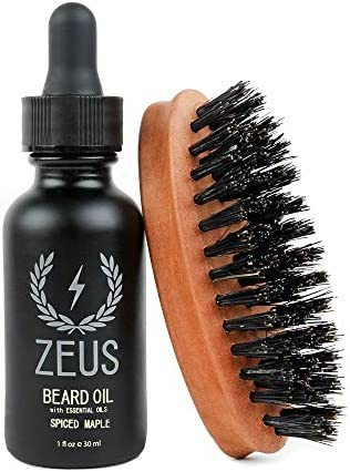 Zeus Beard Oil Kit for Men Natural Beard Conditioner Softener Kit with 100 Boar Bristle Beard product image