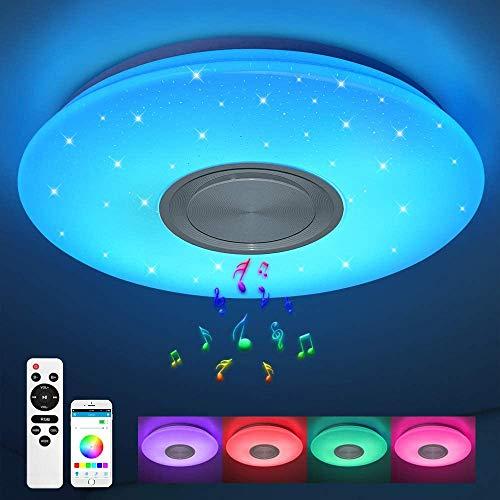 JDONG Deckenleuchte mit Bluetooth Lautsprecher und Fernbedienung APP-Steuerung 24W Farbwechsel, Sternen, dimmbar, Warmweiss- Kaltweiss, 3000-6500 Kelvin, RGB Umgebungslicht