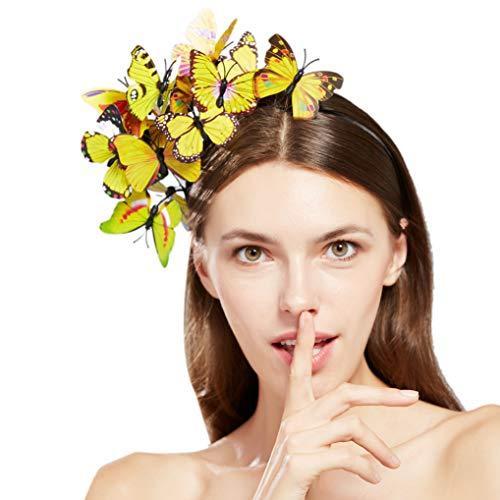 Coucoland Schmetterlings Fascinator Haarreif Damen Blumen Schmetterling Stirnband Haarband Englische Tee Cocktail Party Damen Fasching Karneval Kostüm Haar Accessoires (Gelb)