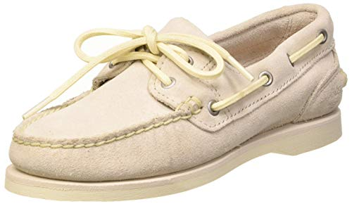 Timberland Classic, Chaussures Bateau Femme, Blanc White Suede, 38.5 EU