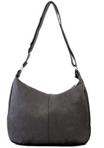Star-Trends Schwarze Handtasche Damen Schultertasche Shopper Bag Tasche Umhängetasche Henkeltasche Damentasche Schwarz Schultasche Tasche für Schule Studium 45/32/17 cm (Breite*Höhe*Tiefe) (Grau)