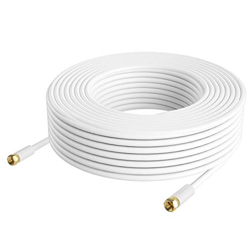 Postta アンテナケーブル 20M 同軸ケーブル S-5C-FB 4K8K 地デジ・BS・CS・CATV放送対応 金メッキプラグ F型プラグ ホワイト