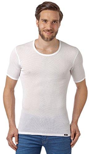 Netzhemd für Herren, Herren Netzunterhemd, atmungsaktives Herren Netzhemd aus reiner Baumwolle, europäische Produktion (7 (XL), weiss)