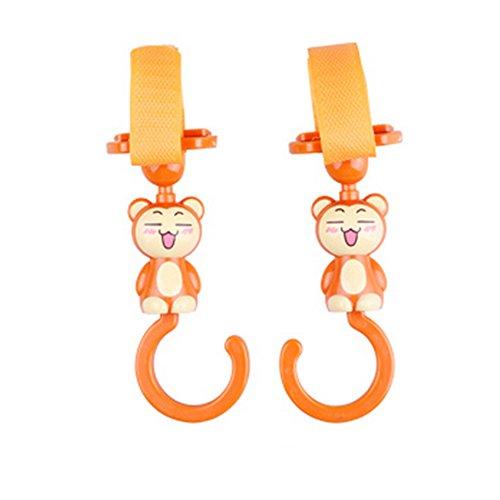 Cute Hot vente Poussette Crochets Poussette pour bébé, Lot de 2, Orange (16*4.5 cm)