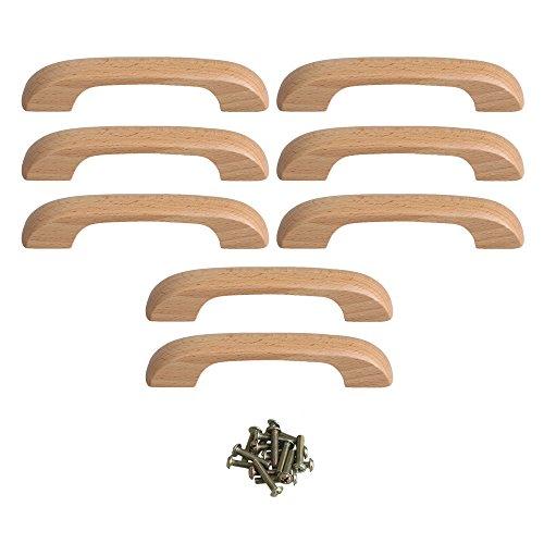Yibuy - Tiradores en Forma de Puente (8 Unidades, Mango de Madera de Haya con Orificio de Rosca, 96 mm)