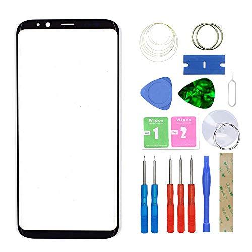 MovTEK Frontglas für Samsung Galaxy S8 G950 Serie Displayglas Ersatz Glas Reparatur Set mit Werkzeug (Schwarz)