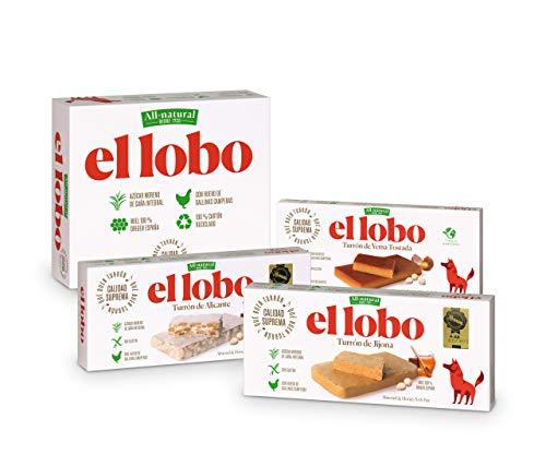 """El Lobo El Lobo - Pack Familiar """"All-Natural"""" contiene Turrón Blando Jijona 250G, Turrón Duro Alicante 250G y Turrón Blando Yema Tostada 200G 700 g"""