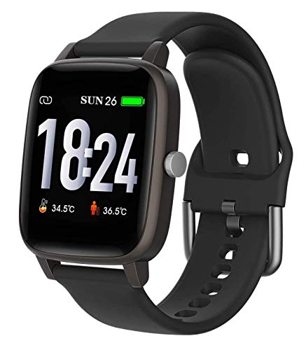 Smart Watch, Body temperature Smartwatch, Fitness Tracker with Heart Rate Blood Pressure,Blood Oxygen, Sleep Monitor,Message Call Reminder Smart Watch for Men Women Kids,Compatible for iphone Android