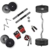 Lifelong PVC Home Gym Set 16kg Plate 3feet curl Rod and Dumbbells rods with Gym Accessories