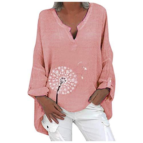 Camiseta de verano para mujer, extragrande, elegante, con estampado de mariposas, transpirable, cuello en V, de lino, retro, túnica, informal, suelta. A2~rosa XXXXL
