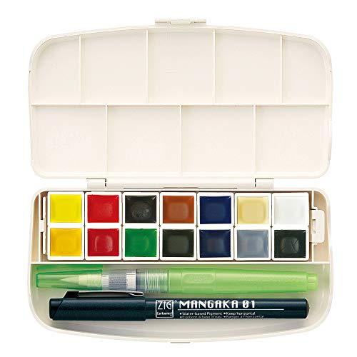 Kuretake GANSAI TAMBI Portable 14 Watercolors Set, Professional-Quality Pigment Inks for Artists and Crafters, AP-Certified, Blendable, Show up on Dark Papers, Made in Japan