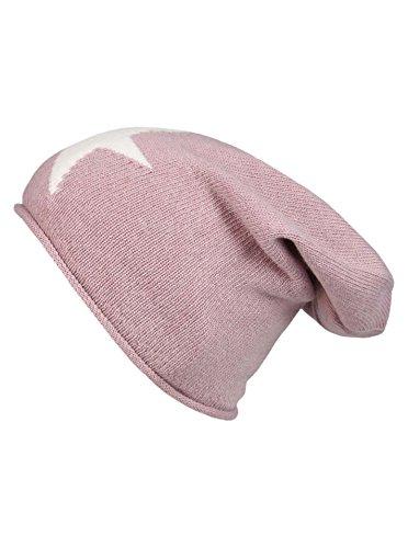 Cashmere Dreams Cashmere Dreams Slouch-Beanie-Mütze mit Kaschmir - Hochwertige Strickmütze für Damen Mädchen - Stern - Hat - One Size - Sommer Herbst und Winter Zwillingsherz (alt/weiß)