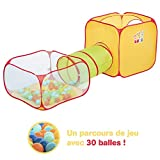 Parcours de jeu | Ludi | Tunnel de jeu + Piscine à balles + Cube | Structure de jeu pop-up | Jouet d'intérieur et d'extérieur| Fixations au sol | 30 balles incluses | À partir de 2 ans