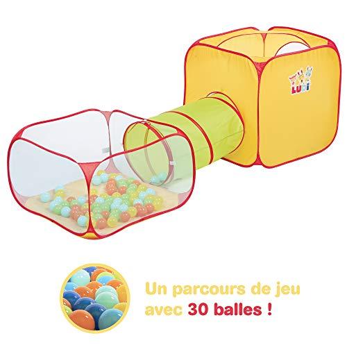 LUDI Spielplatz Tunnel + Ball Pool + Würfel | Pop-up Spielstruktur | Für den Innen- und Außenbereich | Bodenbefestigungen | Inklusive 30 Bällen | Ab 2 Jahren