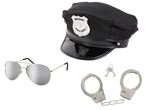 Trendmaus Polizeikostüm Cop Kostüm Accessoires - Polizeihut Schwarz mit Sonnenbrille silber verspiegelt und Chrom Handschellen