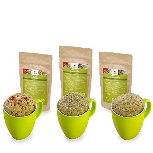 Lizza Low Carb Tassenbrot in 3 Variationen | Bio. Glutenfrei. Vegan. Kohlenhydratarm. Proteinreich. Ballaststoffreich | Geeignet für Vegane, Glutenfreie und Keto Ernährung | 3x 80g Packung