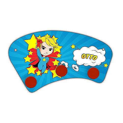 Eurofoto Wand-Garderobe mit Namen Otto und Comic-Superhelden-Motiv für Jungen | Garderobe für Kinder | Wandgarderobe