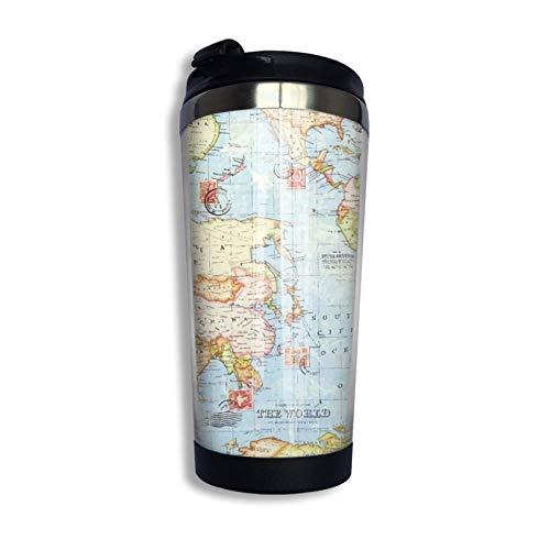 Taza con tapa abatible Flor Vaso de acero inoxidable Taza Botella de agua Día de la madre Taza de cumpleaños Mapa del mundo Interior azul
