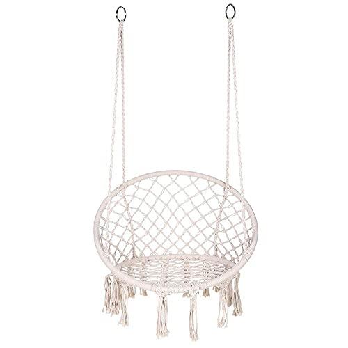 LXW Silla de Hamaca Macrame Swing, Silla Colgante de Cuerda de algodón Colgante, sillón Exquisito Colgante Redondo, máx 330 lbs, sillas Colgantes para Interiores, al Aire Libre, hogar, Patio
