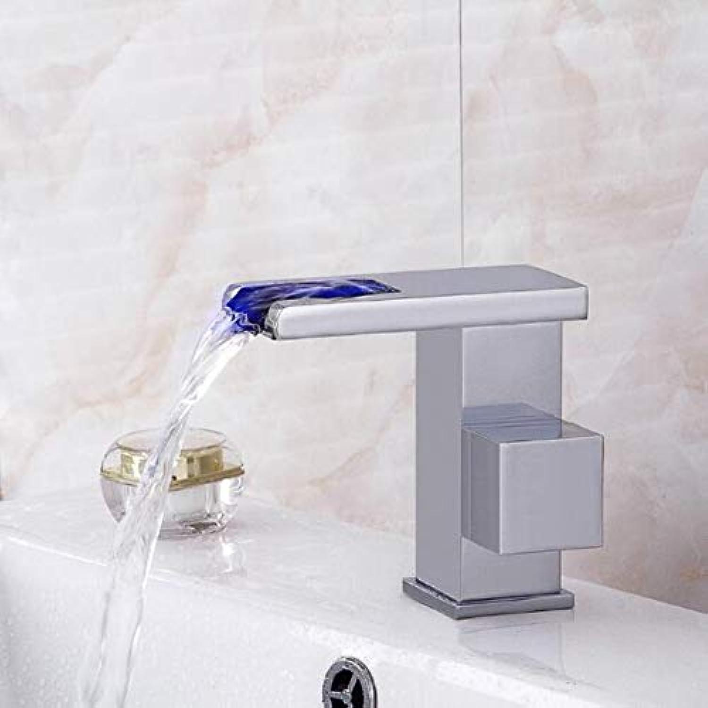 YHSGY Küchenarmatur Chrome Led Wasserhahn Wasserfall Wasserhahn Platz Badezimmer Becken Wasserhahn Waschbecken Mischer Mit Zwei 50Cm Sanitrschluchen