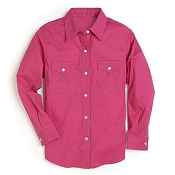Wrangler Girls  Western Long Sleeve Two Flap Pockets Snap Shirt Pink Large
