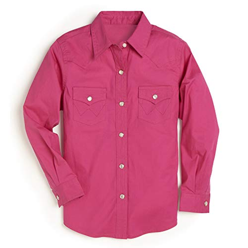 Wrangler Girls' Western Long Sleeve Two Flap Pockets Snap Shirt, Pink, Small