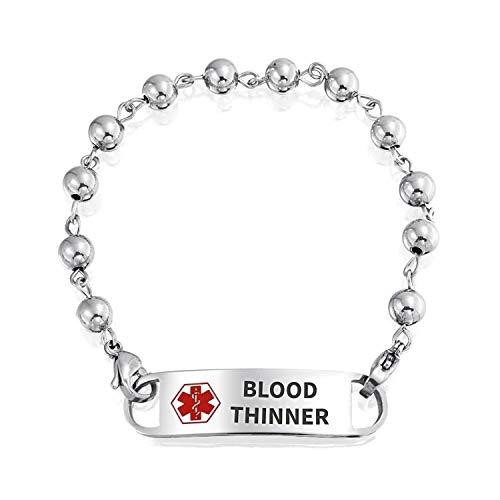 Bling Jewelry Blut verdünnt Identifikation medizinische Warnung ID Kugel Perle Link Kette Armband für Frauen Edelstahl 7 Zoll benutzerdefinierte graviert