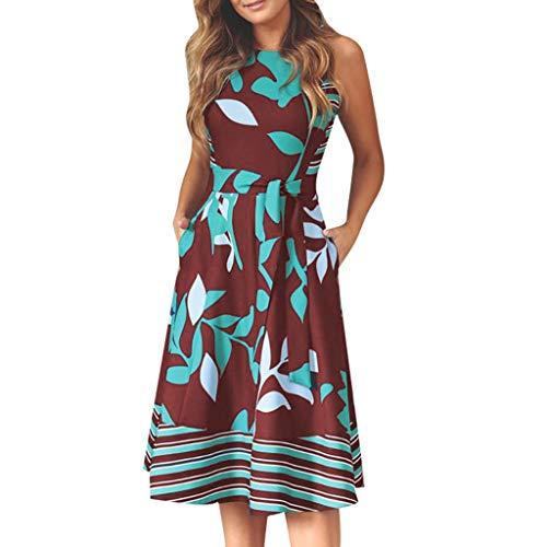 Kingko ® Sommerkleider Damen V-Ausschnitt Spaghettiträger Rückenfreies Blumen Strand Kleider A-Linie Abendkleid Knielang Partykleid mit Gürtel Tasche (XXXL, rot)