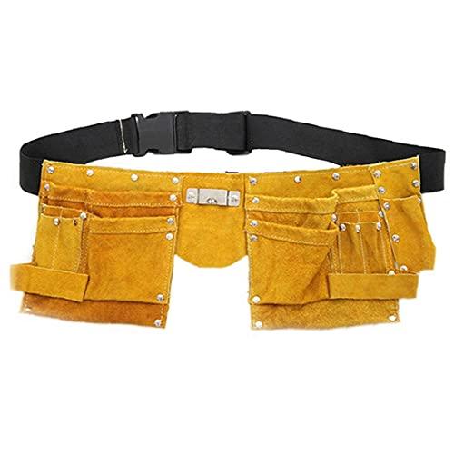 Cinturón de herramientas bolsa de cuero bolsa de bolsillo del delantal de Altas Prestaciones ajustable para herramientas de bricolaje de hardware del electricista del carpintero Joiner Hombres