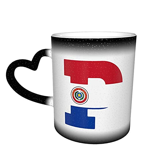 Oaieltj Divertidas tazas cambiantes de calor, bandera de Paraguay P carta personalizada sensible al calor color cambiante taza de té de leche tazas de café mágicas