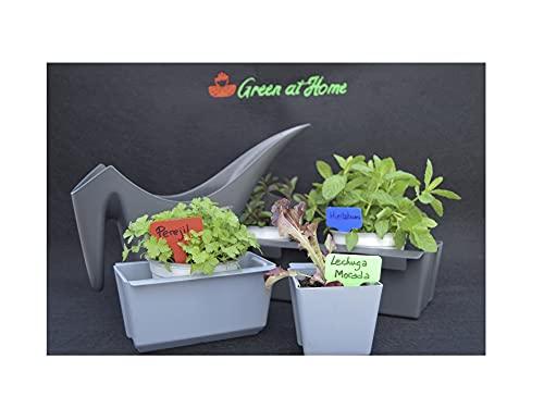 GREEN AT HOME: Kit de 6 Jardineras para Colgar en Palets y Barandillas + Regadera. para Plantas y Flores de Jardín Interior o Exterior, Hierbas Aromáticas. Naturaleza en tu Hogar