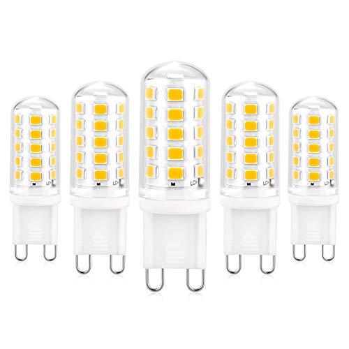 G9 LED Lampadina Dimmerabile, Lampadina G9 con 5W 5 Pezzi Bianco Caldo 3000K 550LM, Equivalente di Lampadina Alogene da 50W, Nessuno sfarfallio, 360° Angolo a Fascio Lampadine a Risparmio Energetico