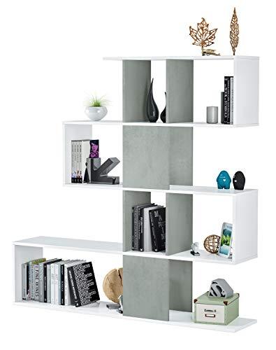 Bricozone Elche Libreria da Parete, Design Zig Zag, Scaffale Mensola Moderna, 145 x 145 x 29 cm, Bianco e Grigio Cemento