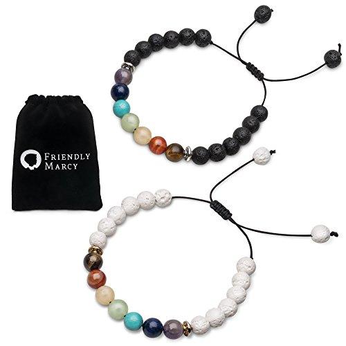Chakra Bracelets-Natural Semi Precious Gemstones-Also Suitable as Best Friend Couples Distance Bracelets for 2-Essential Oil Diffuser Lava Bracelets-Rock Stone Beads-Healing Protection Energy Stress