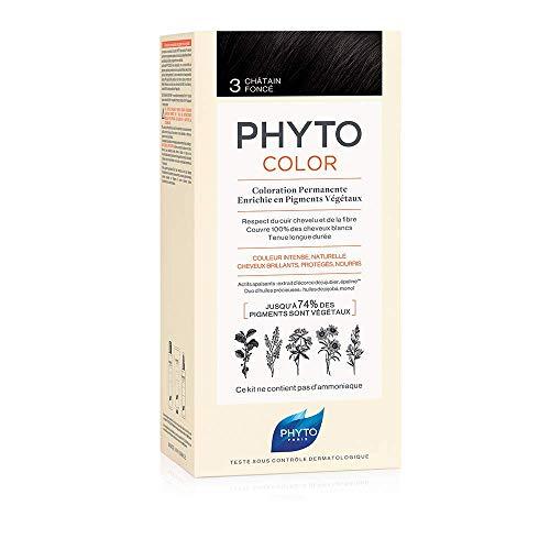 Phyto Phytocolor 3 Castano Scuro Colorazione Permanente senza Ammoniaca, 100 % Copertura Capelli Bianchi