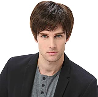 Baruisi Mens Short Brown Wig Natural Hair Replacement Synthetic Costume Halloween Full Wigs