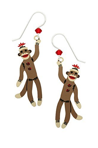 Sienna Sky Vintage Sock Monkey Earrings with Gift Box Made in USA