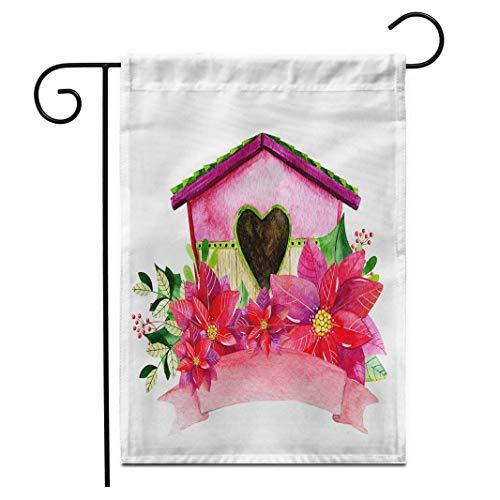 hongwei 12.5 'x 18' Bandera de jardín Acuarela Pajarera Rama Arco y...