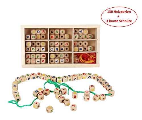B&Julian Fädelbox Fädelspiel 130 Teile, große Buchstaben aus Holz und 3 Bunte Schnüre zum Basteln von Schmuck DIY Halskette Armbändern und Freundschaftsarmbändern Holzspielzeug ab 3 Jahren