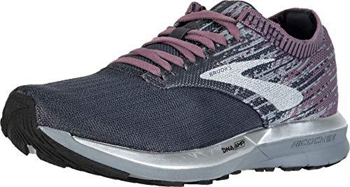Brooks Womens Ricochet Running Shoe - Black/Grey/Arctic Dusk - B - 8.0