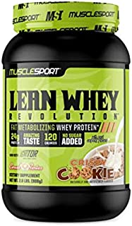 MuscleSport Lean Whey Revolution™ Protein Powder, Whey Protein Isolate, Fat Burning, Weight Loss, Low Calorie, Low Carb, Low Fat, Incredible Flavors (2LB, Crispy Cookie Cereal)