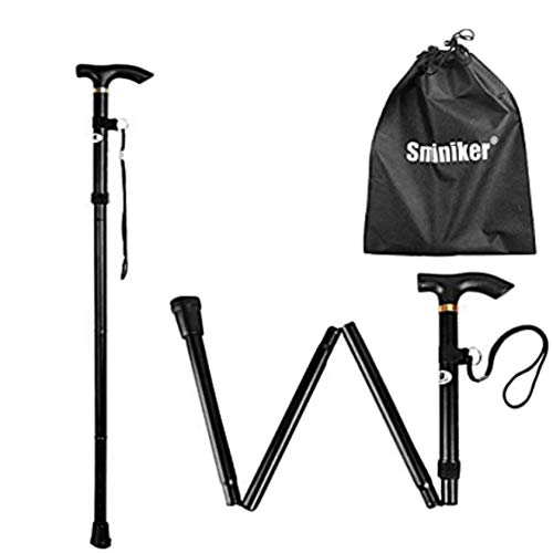 Sminiker Professional Folding Walking Canes with Carrying Bag Lightweight Adjustable Canes and Walking Sticks for Men and Women with Wrist Strap Aluminum Alloy Shaft Black