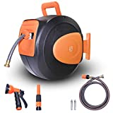 Wellmax Retractable Water Hose Reel with Wall Mount, Flexible Garden...
