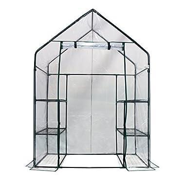 Homewell Mini Walk-In Greenhouse 3 Tiers 6 Shelves, 56 W x 29 D x 77 H