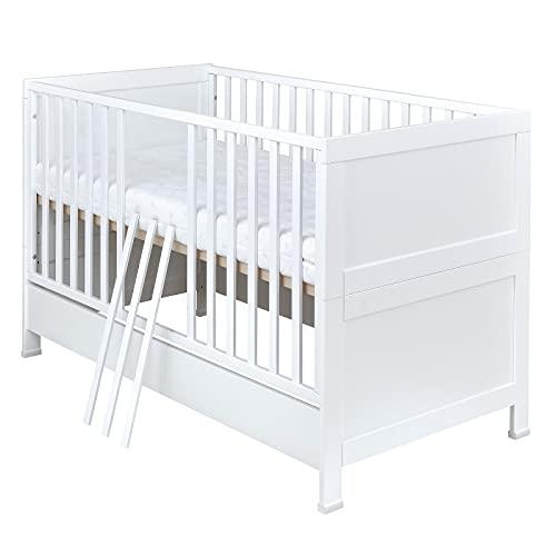 Baby Delux Babybett Kinderbett Zoe 2in1 umbaubar zum Juniorbett 140x70 weiß