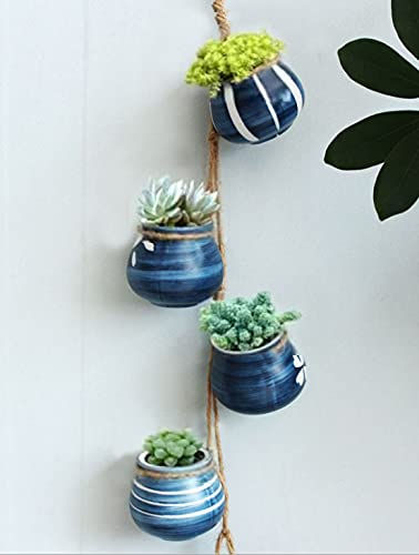 Xihaoer 4-Pot Bright Pastel Ceramic Hanging Flower Planter Set (blu)